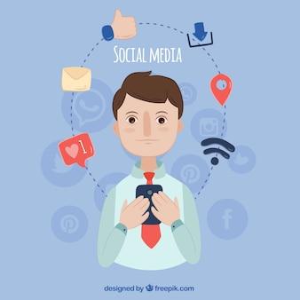 Hand-drawn achtergrond van de persoon die de herziening van zijn sociale netwerken