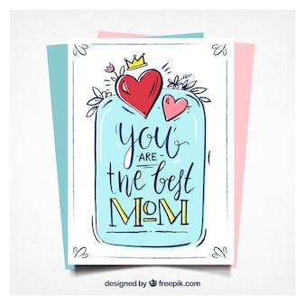 Hand-drawn wenskaart met hartjes voor moederdag