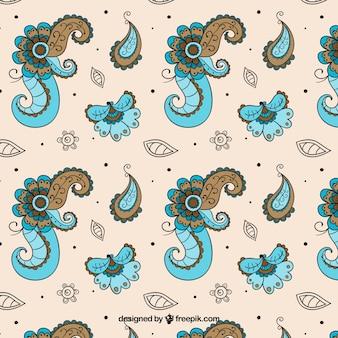 Hand getekend bloemen batik patroon