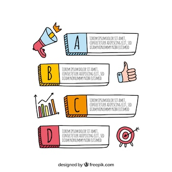 Hand getekend infographic met stappen