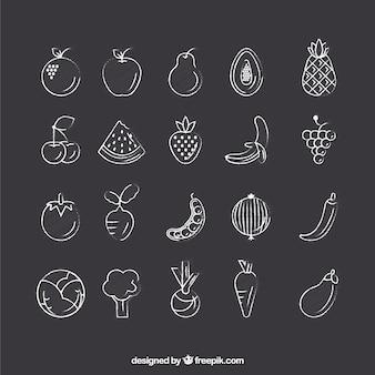 Hand getekend plantaardige pictogrammen