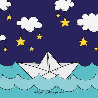 Hand getekende achtergrond van papieren boot zeilen