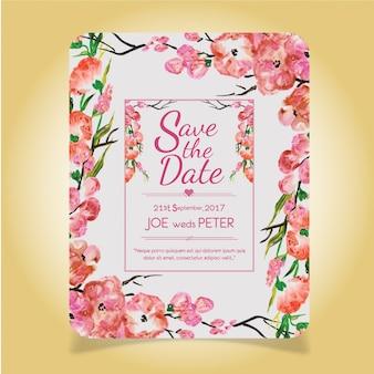 Hand getekende aquarel roze bloemen bruiloft invitaion kaart