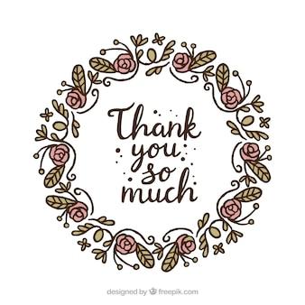 Hand getekende bloemenkrans dank u achtergrond