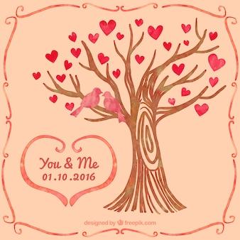 Hand getekende boom met hartjes