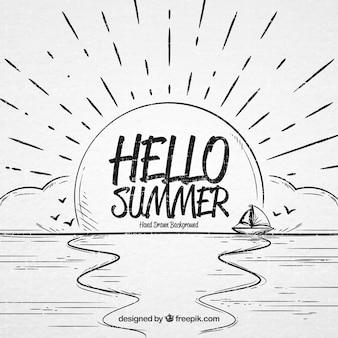 Hand getekende hallo zomer achtergrond