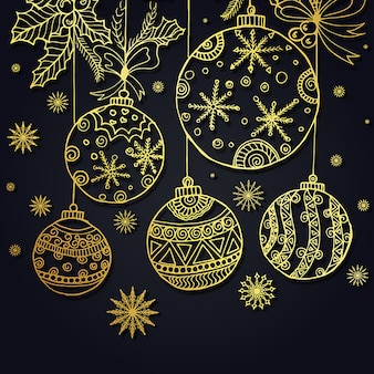 Hand getekende Kerst Achtergrond