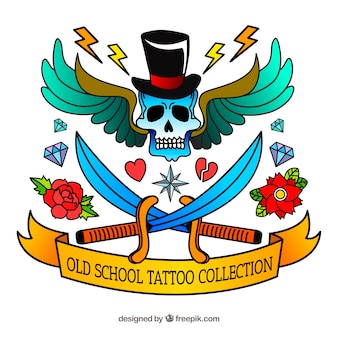 Hand getekende kleurrijke oude school tattoo collectie
