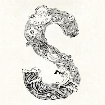 Hand getekende letter s achtergrond
