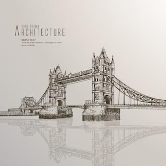 Hand getekende Londen brug