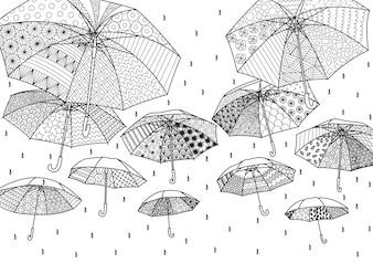 Hand getekende paraplu achtergrond