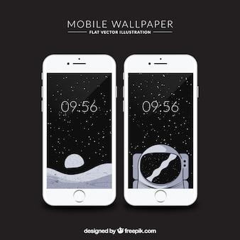 Hand getekende ruimte behang voor mobiel