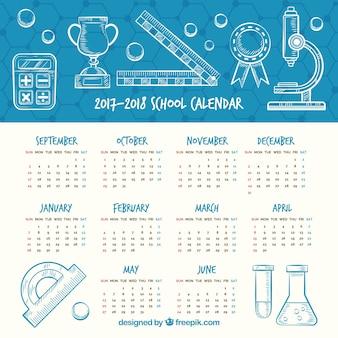 Hand getekende school kalender met wetenschappelijke stijl