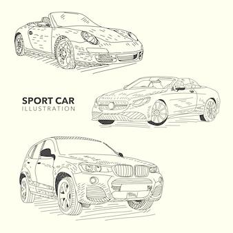 Hand getekende sportwagens collectie