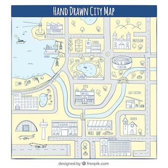 Hand getekende stadskaart