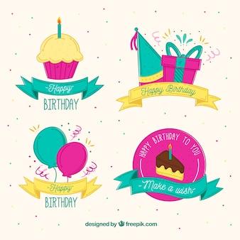 Hand getekende stijl verjaardag etiketten met lint collectie