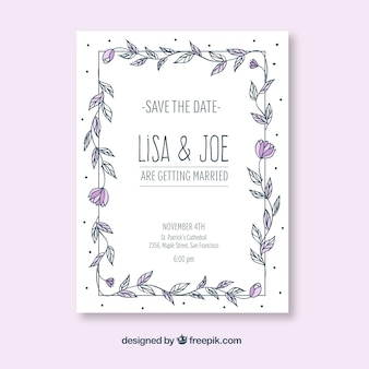 Hand getekende trouwuitnodiging met bloemenframe
