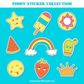 Hand getekende verzameling van grappige stickers