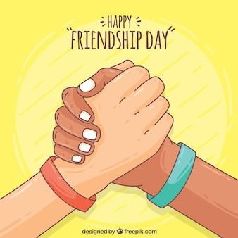 Hand getekende vriendschap gelukkige dag achtergrond