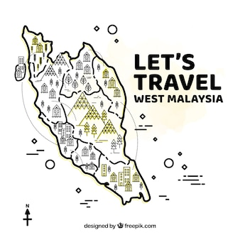 Hand getekende west-Maleisië kaart achtergrond