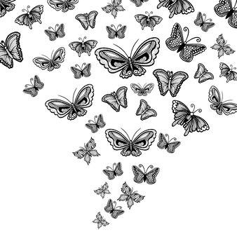 Hand getekende zwart-witte vlinder achtergrond
