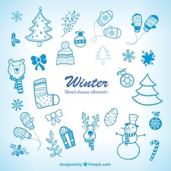 Hand getrokken blauwe kerst elementen