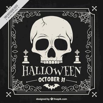 Hand getrokken donkere achtergrond van Halloween schedel