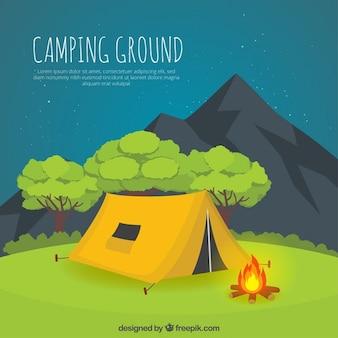 Hand getrokken gele camping tent in een nachtlandschap