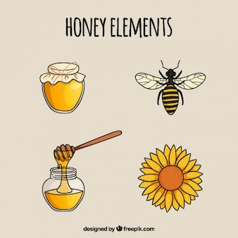 Hand getrokken honing elementen
