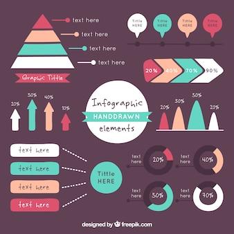 Hand getrokken infographic element collectie