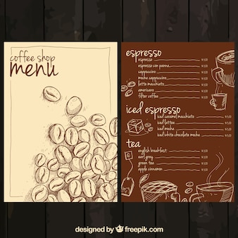 Hand getrokken koffie menu