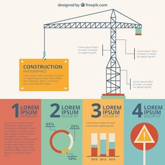 Hand getrokken kraan van de bouw infografie