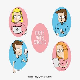 Hand getrokken mensen met behulp van technologie