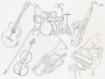 Hand getrokken muziekinstrument