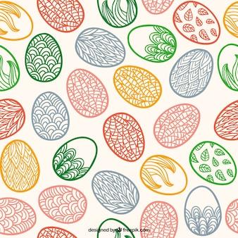 Hand getrokken paaseieren patroon met ornamenten