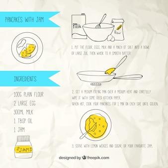 Hand getrokken pannenkoeken met jam recept