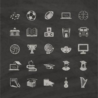 Hand getrokken pictogrammen over het onderwijs op een zwarte achtergrond