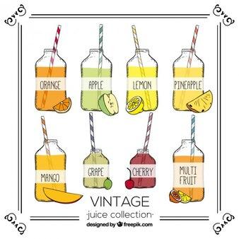 Hand getrokken selectie van vruchtensappen in vintage stijl