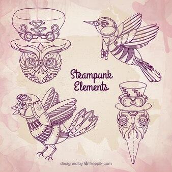 Hand getrokken steampunk vogels