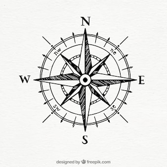 Hand getrokken uitstekende kompas