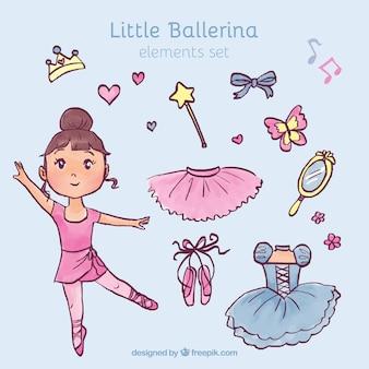 Hand getrokken weinig ballerina met haar elementen