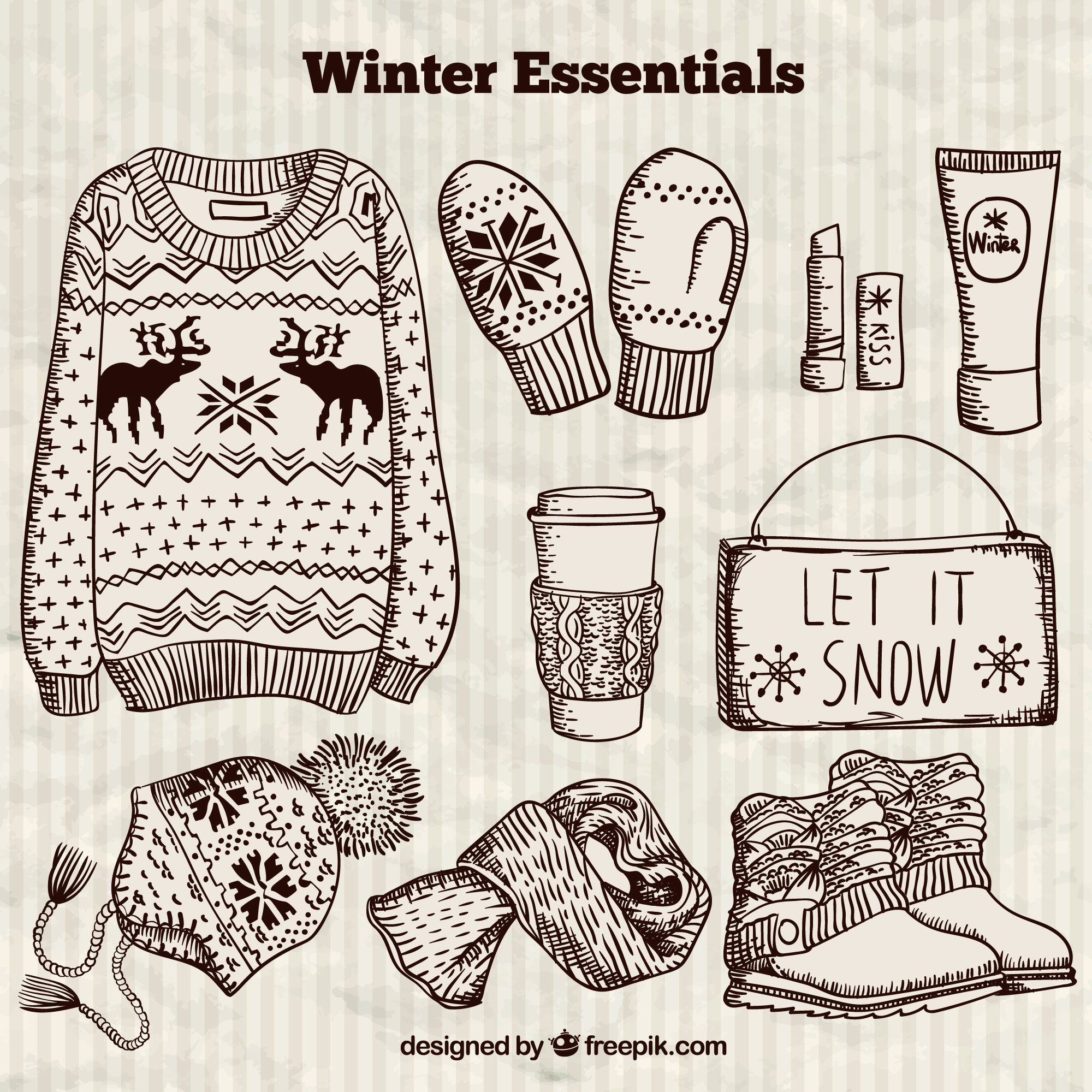 Hand getrokken winter essentials