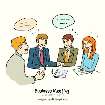 Hand getrokken zakelijke bijeenkomst