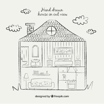 Hand tekenen huis in cut view