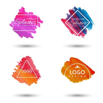Handdrawn Watercolor Splatter logo's