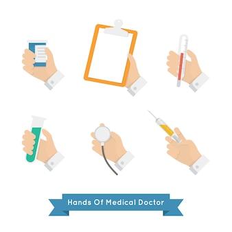 Handen met medische hulpmiddelen