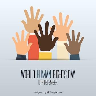 Handen omhoog achtergrond van de dag wereld de mensenrechten