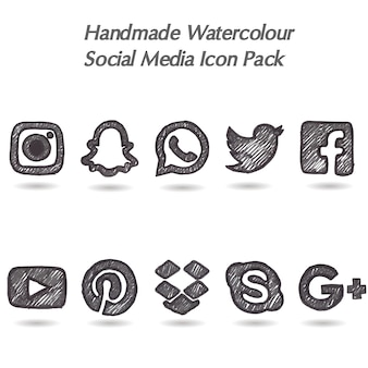 Handgemaakte aquarel social media icon pack