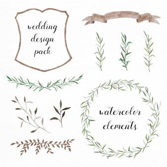 Handgeschilderde aquarel elementen pak voor bruiloft ontwerpen