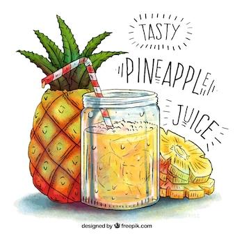 Handgetekende achtergrond van ananas sap